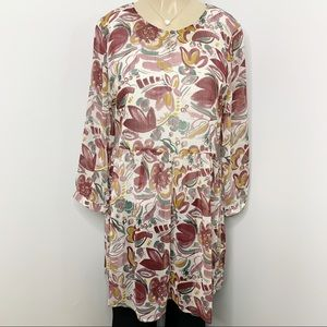 TWO by VINCE CAMUTO Sheer Floral Tunic Dress Small